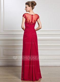 Tubo Decote redondo Longos De chiffon Vestido para a mãe da noiva com Pregueado Bordado Apliques de Renda Lantejoulas Frente aberta (008056834)                                                                                                                            Mais
