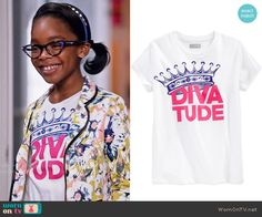 Diane's Diva Tude tee  on Black-ish.  Outfit Details: https://wornontv.net/55276/ #Blackish