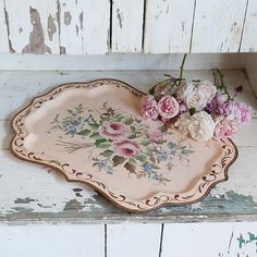 Vintage pink floral painted tray with distressed accents by Shabby Chic Couture from Rachel Ashwell.