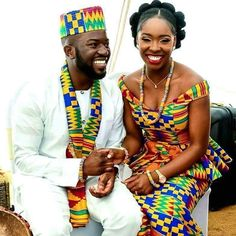 Discover a variety of kente outfits for ghanaian weddings. Get inspiration (view pictures of kente outfits) to help plan or attend a wedding. African Dresses For Women, African Attire, African Wear, African Fashion Dresses, African Women, African Style, African Inspired Fashion, African Print Fashion, African Prints