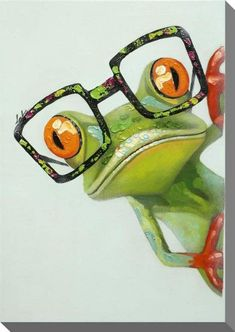 Animal Paintings, Animal Drawings, Art Drawings, Funny Paintings, Funny Frogs, Cute Frogs, Art Fantaisiste, Frog Pictures, Funny Pictures
