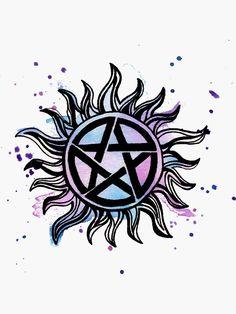 """""""Supernatural Tattoo"""" Sticker by Supernatural Gif, Supernatural Symbols, Supernatural Pictures, Supernatural Anti Possession Tattoo, Supernatural Wallpaper Iphone, Hard Tattoos, Body Art Tattoos, Small Tattoos, Cool Tattoos"""