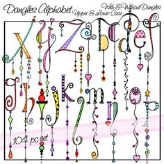 Dangles Alphabet Upper & Lower Case is a downloadable set of 104 original clip art images. There are two complete alphabet sets, one with dangles and one without. These illustrations were created by hand in a fun and whimsical style using bright watercolor, pencil, and marker; then enhanced on the computer.  File Type: PNG (with transparent background) Resolution: high resolution, 400 dpi File Size: 18.75 MB File Size: 6.81 MB  If you are interested in the black and white also known as…