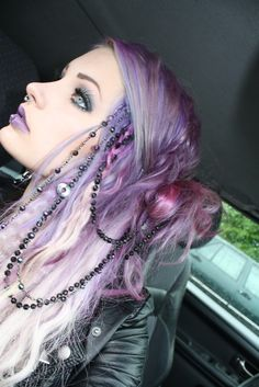 Purple fade hair & beads. I like all the different colors in her hair, but I love her makeup!
