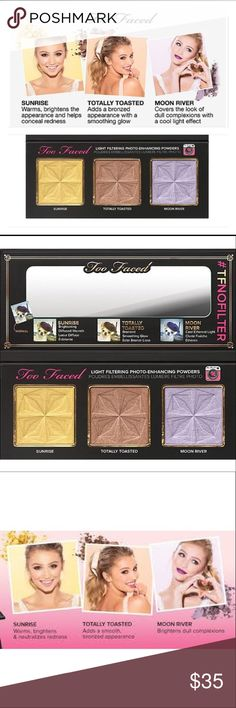 Too Faced Selfie Palette 3 Gorgeous, Shimmering Powders specially designed to address those pesky issues that ruin your perfect selfie! With this handy, beautiful addition to Too Faced, you'll look like a goddess in no time! Authentic and New Too Faced Makeup Face Powder