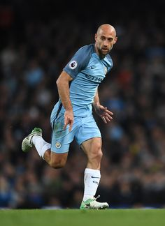 Pablo Zabaleta of Manchester City in action during the Premier League match between Manchester City and Manchester United at Etihad Stadium on April 27, 2017 in Manchester, England.