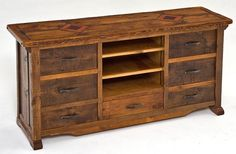 Barnwood Entertainment Center - Seven Drawer with Inlaid Wood Reclaimed Barn Wood, Recycled Wood, Handmade Furniture, Rustic Furniture, Upholstered Furniture, Wood Entertainment Center, Bath And Beyond Coupon, Desk With Drawers, Wood And Metal