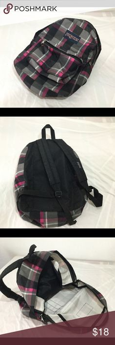 Jansport Pink & Gray Backpack w Big zipper handles Beautiful backpack seldom used 16 X 12 X 5.5 colors pink, gray, black and white Has them large zips, with holes for small locks if needed Jansport Bags Backpacks