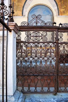 wrought-iron fence in Plazza del Campo, Siena, Italy, photo by doug sinclair, via Flickr