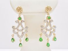 14k Yellow Gold .75 Carat CTW Emerald Diamond Chandelier Dangle Earrings #3305 #DropDangle