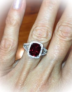 Ruby Halo Engagement Ring 14kt White Gold 2.75ct 10x8 Pigeon Blood Cushion Cut RUBY and .75ct Genuine Diamonds Birthstone Ring Anniversary
