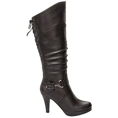 a997d99208e Top Moda Women s Knee High Round Toe Lace-up Slouched High Heel Boots