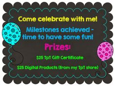 Teacher's Toolkit: Milestone Giveaway!