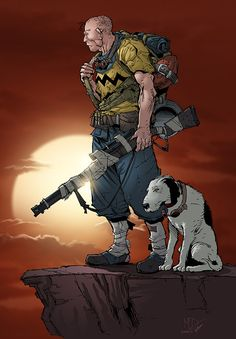 Post-apocalyptic Charlie Brown and his bedraggled mutt, Snoopy - fan art by Max Dunbar featuring inks by Vitali Iakovlev and colors by Sean Ellery.