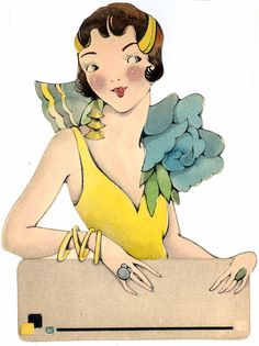 Art Deco flapper with label