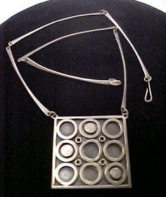 Vintage Modernist Sterling Silver Pendant Necklace Signed | eBay