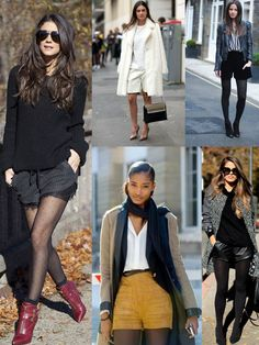 Today you are going to see various ways how to wear shorts in cold weather, that's why I recommend to sit back and enjoy these beautiful street style images. Fashion Tag, Leather Fashion, Kids Fashion, Fashion Outfits, Womens Fashion, Winter Shorts Outfits, Fall Outfits, Fall Chic, Short Outfits