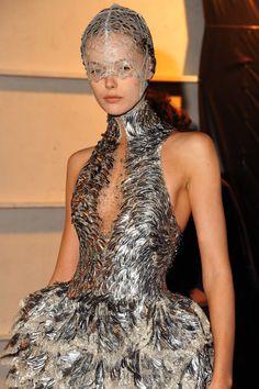 Frida Gustavsson backstage at Alexander McQueen Spring/Summer 2012