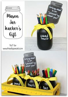 Mason jar gifts, mason jar diy, uses for mason jars, back to school gifts. Mason Jar Gifts, Mason Jar Diy, Jar Crafts, Bottle Crafts, Teacher Appreciation Gifts, Teacher Gifts, Teacher Gift Baskets, Teacher Christmas Gifts, Mason Jar Projects