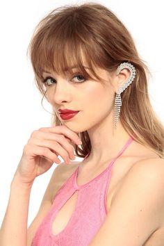 Rhinestone Embellished Ear Cuff