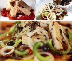 Ensalada de Bonito con Pimientos, cebolla y arbequina