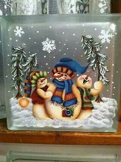 Painted snow people on glass block that has been frosted Christmas Glass Blocks, Christmas Art, Christmas Projects, Christmas Signs, Christmas Decorations, Painted Glass Blocks, Decorative Glass Blocks, Lighted Glass Blocks, Hand Painted