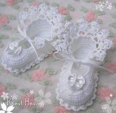 Boutique Kneat Heaven Crochet Antique Lace Baby Doll Booties | eBay