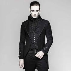 Jetzt günstig online bestellen: Schwarzes Jacket mit integrierter Weste im Brokat Look - Entdecke die dunkle Welt von VOODOOMANIACS ! Dog Growling, Elegantes Outfit, Mock Turtle, Brokat, Hacks, Steampunk, Outfits, Fashion, Leather Jackets