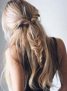 Long hairstyles: Half-up fishtail braid - CosmopolitanUK