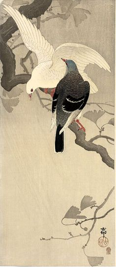 Pigeons on Ginkgo Branch by Ohara Koson