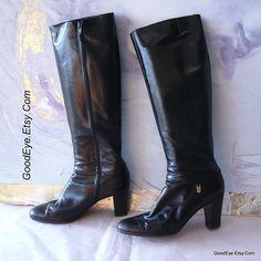 Vintage Black Leather Salvatore FERRAGAMO Knee Boots by GoodEye