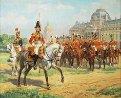 la garde du roi à l'école militaire. The king's guards in Paris military school. - par E. Leliepvre