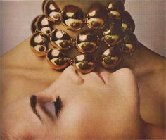 A necklace of thick domes of polished gold  James Moore Vendome Jewelry