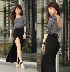 Dressy Fashion Ensemble - striped top with black long skirt (long slit), high heels Maxi Skirt With Slit, Maxi Skirt Style, Maxi Skirts, Boho Fashion, Autumn Fashion, Fashion Outfits, Philippines Fashion, Asian Style, Passion For Fashion