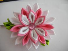 Hey, I found this really awesome Etsy listing at https://www.etsy.com/listing/234648623/kanzashi-flower-white-and-pink-flower