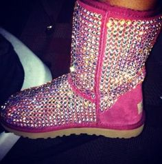 Pink sparkly ugg boots! #obsessed