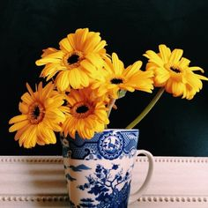 yellow, blue and white