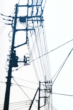 powerlines -- This image is interesting because it looks like an inverse photo. Rather than a graphic image is resembles a photograph. Urban Sketching, Wire Art, Urban Landscape, Abstract Photography, Gravure, Urban Art, Black And White Photography, Concept Art, Scenery
