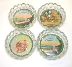 Mohawk Trail Hairpin Turn Massachusetts New England Candy Dishes Ashtray Set