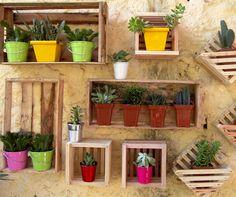 Práticos e econômicos, os caixotes são perfeitos para você fazer um jardim vertical na sua casa. Para deixar o espaço bem criativo, use caixotes de diferentes tamanhos e em posições variadas.