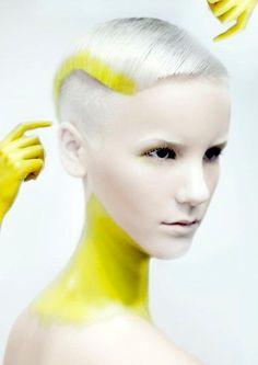 Jasmine Stahl Norwegian, strange, future girl, silver hair, yellow, beautiful, alternative girl, future fashion, futuristic style, unique by FuturisticNews.com