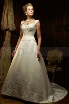 Capped Sleeves Princess Wedding Dress with Exquisite Embroidery and Shimmering Beadings