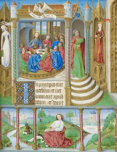 Synagoga (Judaism) and Ecclesia (Church) Flank the Last Supper | From a Book of Hours, Paris use, in Latin and French | Illuminated by the Master of Jacques de Luxembourg | Northeastern France or Paris | ca. 1465 | The Morgan Library & Musuem