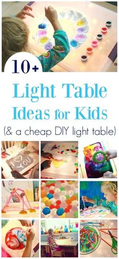 More than 10 light table activities for kids including art, science, play that are free or low cost. Plus a DIY light table that won't break the bank! via Artful Parent Light Table For Kids, Diy Light Table, Diy For Kids, Crafts For Kids, Licht Box, Light Board, Diy Bebe, Reggio Emilia, Kids Lighting