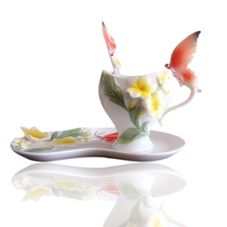 Butterfly frangipani enamel porcelain coffee cup Creative manual coloured drawing