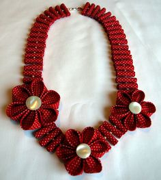 Kanzashi Fabric Flower Necklace by Gail Made