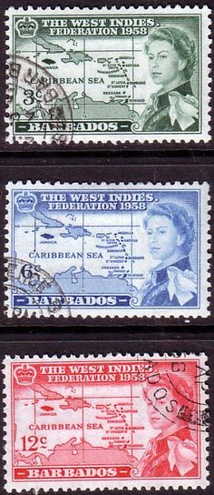 Barbados 1958 B W I Federation Set Fine Used SG 303 - 305 Scott 248 - 250 Other West Indies Stamps HERE