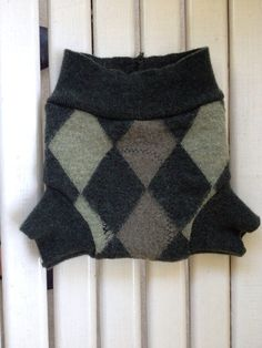 Small upcycled merino wool green argyle soaker with extra wet zone layer diaper cover on Etsy, $12.00