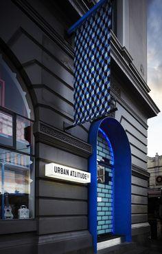 "Black shop front - Urban Attitude, Melbourne - ex Victorian-era Post Office facade hints at its ""digital-age"" interior. Australian Interior Design, Interior Design Awards, Retail Interior, Signage Design, Facade Design, Exterior Design, Retail Facade, Shop Facade, Restaurants"