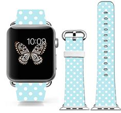 Iwatch Band for Women,Genuine Leather Apple Watch Strap Replacement 38Mm Lovely Personalized Blue White Small Dots With Silver Metal Adapters Put On Cisland http://www.amazon.com/dp/B010NV3UDO/ref=cm_sw_r_pi_dp_bBkvwb05EZEPH